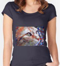 Orangene Katze Tailliertes Rundhals-Shirt