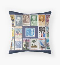 Set of USA postage stamps.Background. Throw Pillow