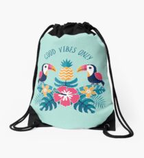 Good Vibes Only on Aqua Drawstring Bag