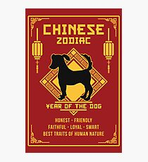 Chinese Zodiac Dog Chinese New Year of The Dog Photographic Print