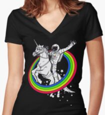 unicorn rider astronaut Women's Fitted V-Neck T-Shirt