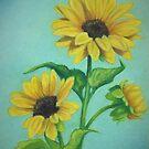Three Sunflowers by Pam Humbargar