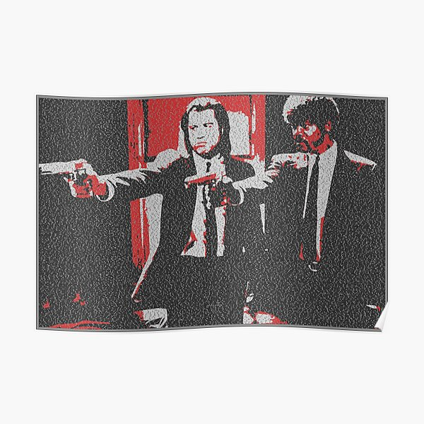 Text Portrait of Vincent Vega and Jules Winnfield with Full Script of Pulp Fiction Poster