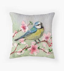 Blue Tit Bird On Cherry Blossom Tree Throw Pillow