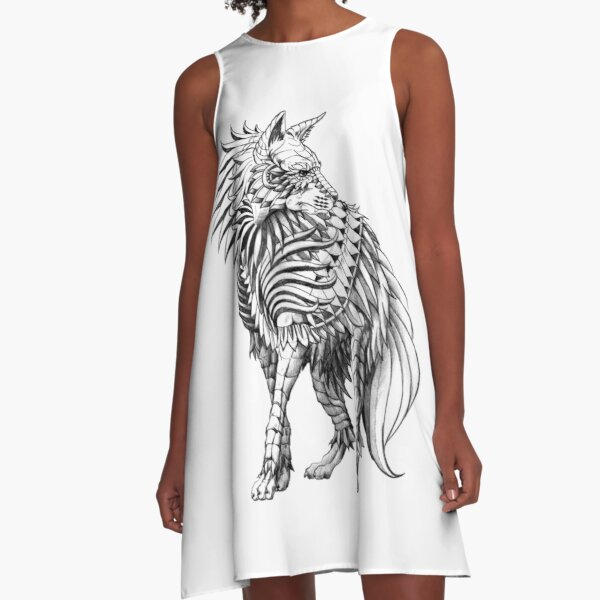 Long Hair Hyena A-Line Dress