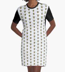 Watercolour Bee Pattern Graphic T-Shirt Dress
