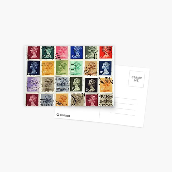 British postage stamps with a Queen Elizabeth profile. Postcard