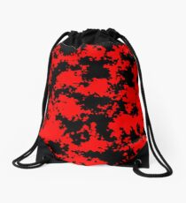 Camo - Red and Black Drawstring Bag