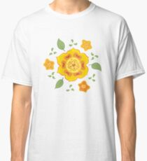 Orange and Yellow Flowers Illustration Classic T-Shirt