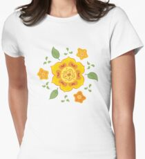Orange and Yellow Flowers Illustration Women's Fitted T-Shirt