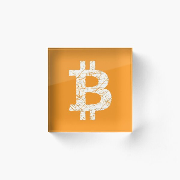 Bitcoin Currency Symbol Acrylic Block