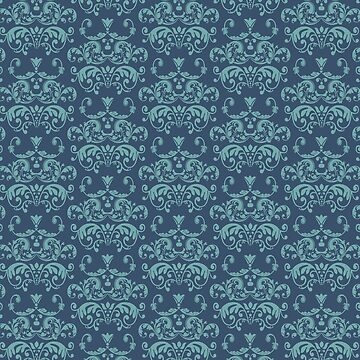 Damask in Navy and Teal by HannahSterry