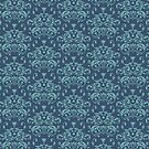 Damask in Navy and Teal by Hannah Sterry
