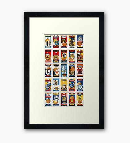 Association Football (Soccer) Club colours and badges. Set of 25 Framed Print