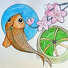 Karp and Cherry blooms by Loretta Nash
