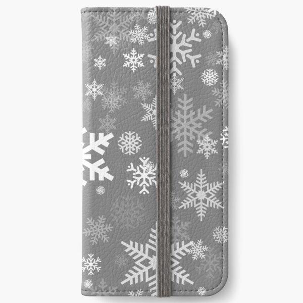 Snowflakes Pattern in Grey iPhone Wallet