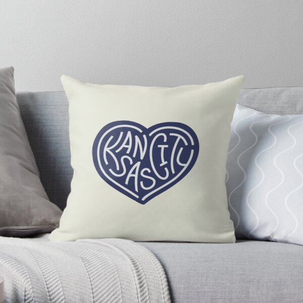 LOVE KC (dark blue x white) Throw Pillow