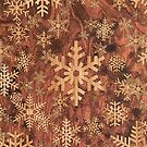 Snowflakes Pattern in Wood Veneer Style Print by Garaga