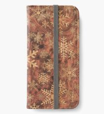 Snowflakes Pattern in Wood Veneer Style Print iPhone Wallet/Case/Skin