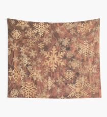 Snowflakes Pattern in Wood Veneer Style Print Wall Tapestry