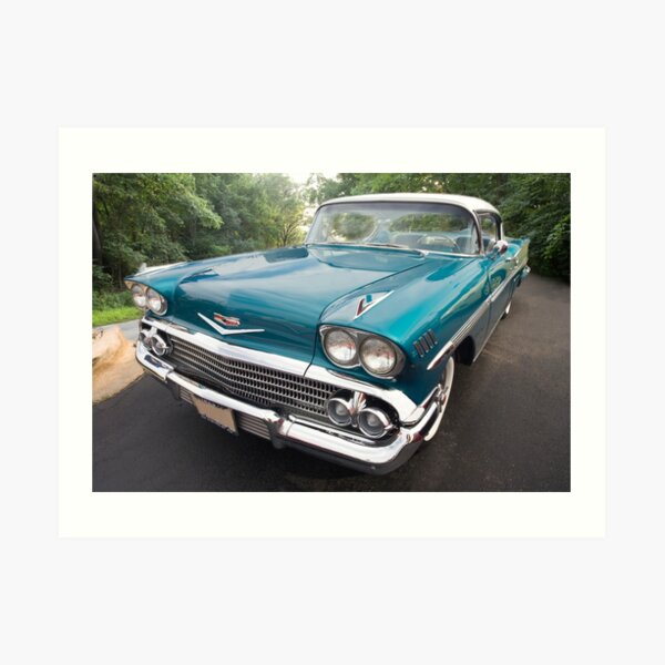 1958 Teal Chevrolet Impala Art Print