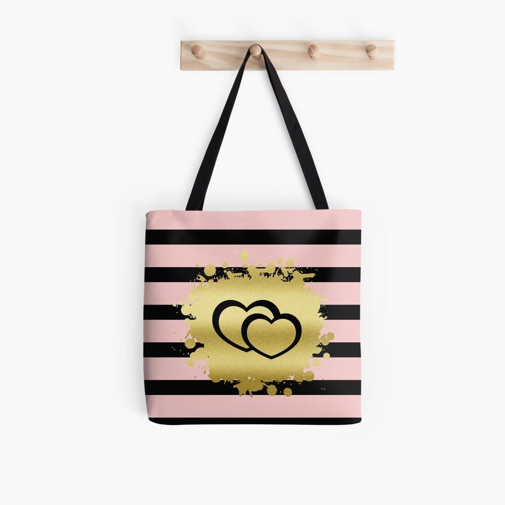 Trendy Blush Pink Black Stripes Gold Glitter Hearts Tote Bag