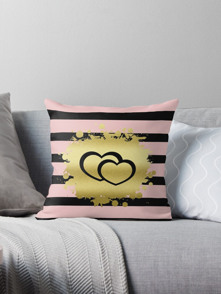 Trendy Blush Pink Black Stripes Gold Glitter Hearts by Beverly Claire Kaiya