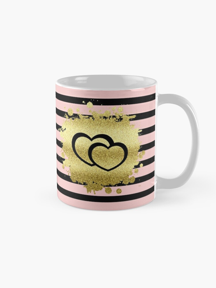 Alternate view of Trendy Blush Pink Black Stripes Gold Glitter Hearts Mug