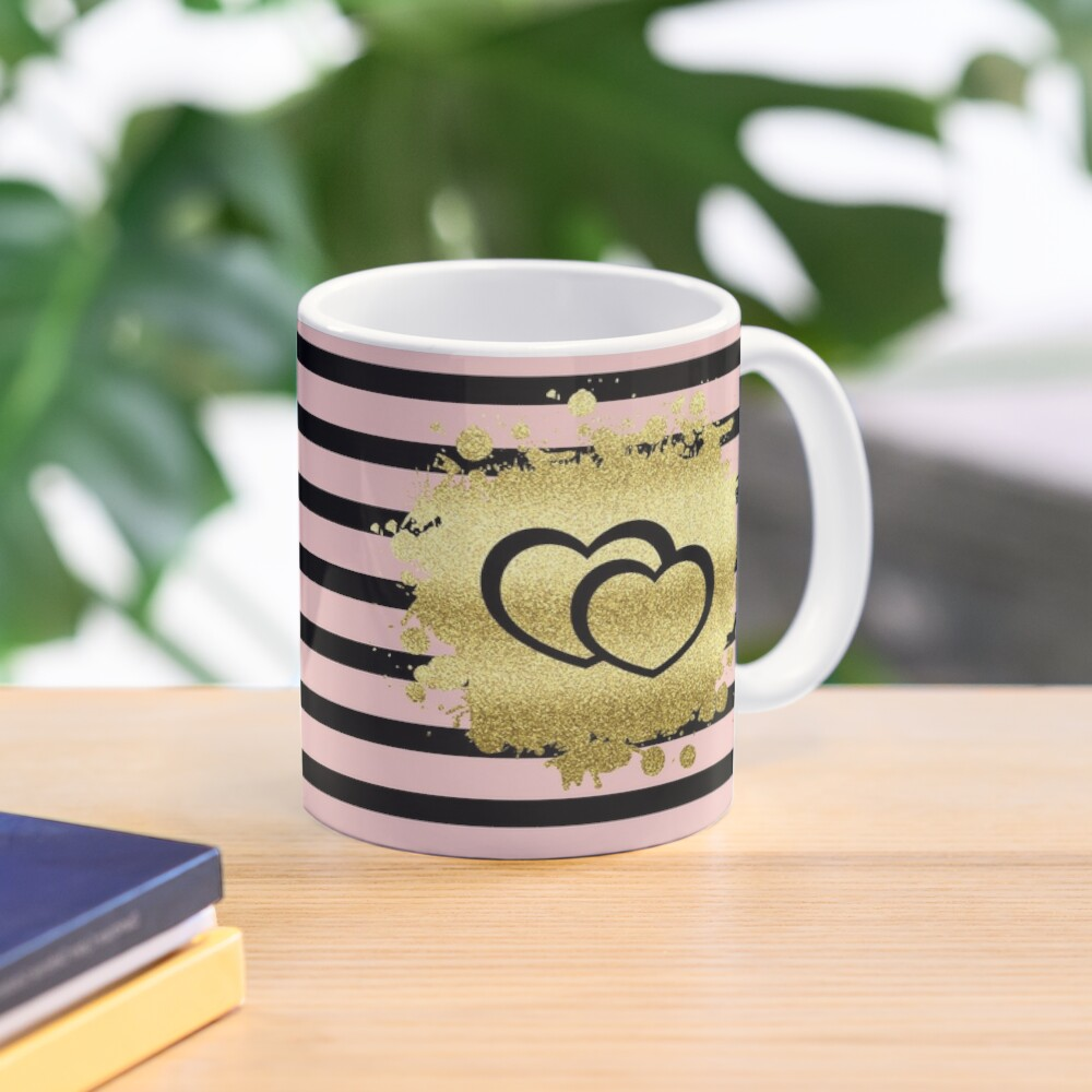 Trendy Blush Pink Black Stripes Gold Glitter Hearts Mug