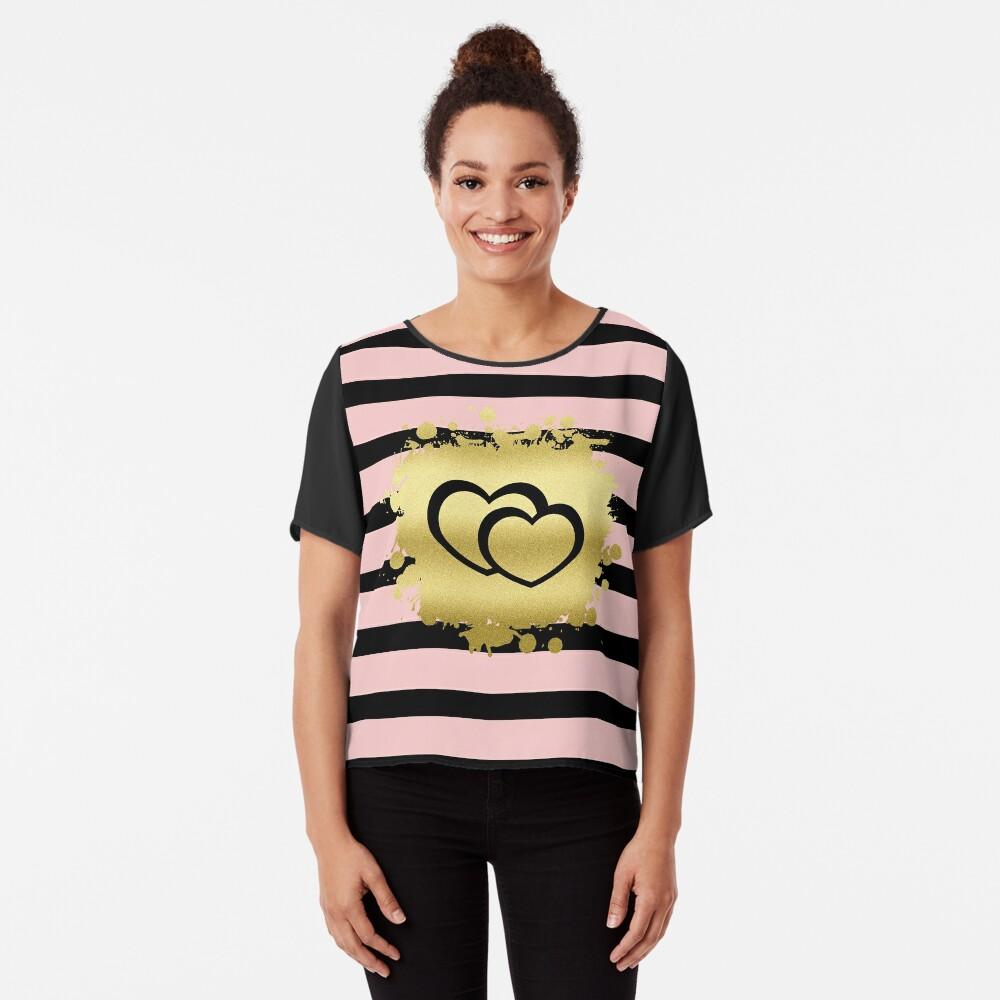 Trendy Blush Pink Black Stripes Gold Glitter Hearts Chiffon Top