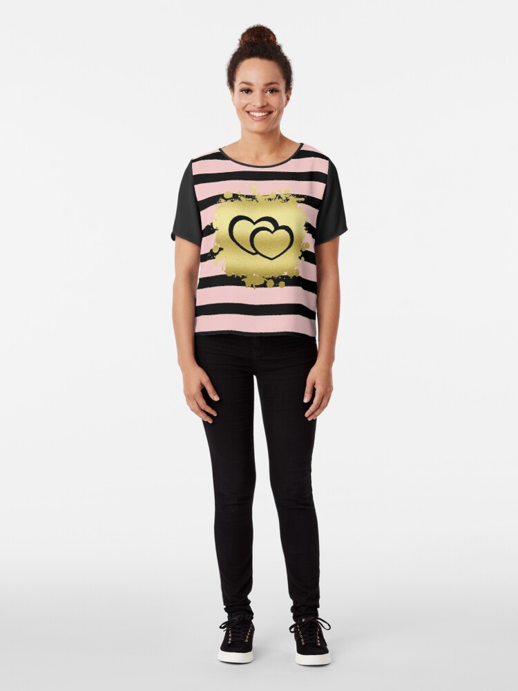 Alternate view of Trendy Blush Pink Black Stripes Gold Glitter Hearts Chiffon Top