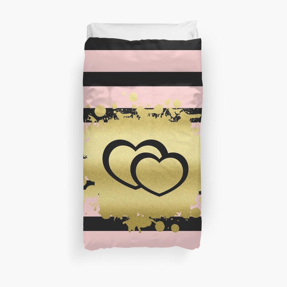 Trendy Blush Pink Black Stripes Gold Glitter Hearts Duvet Cover