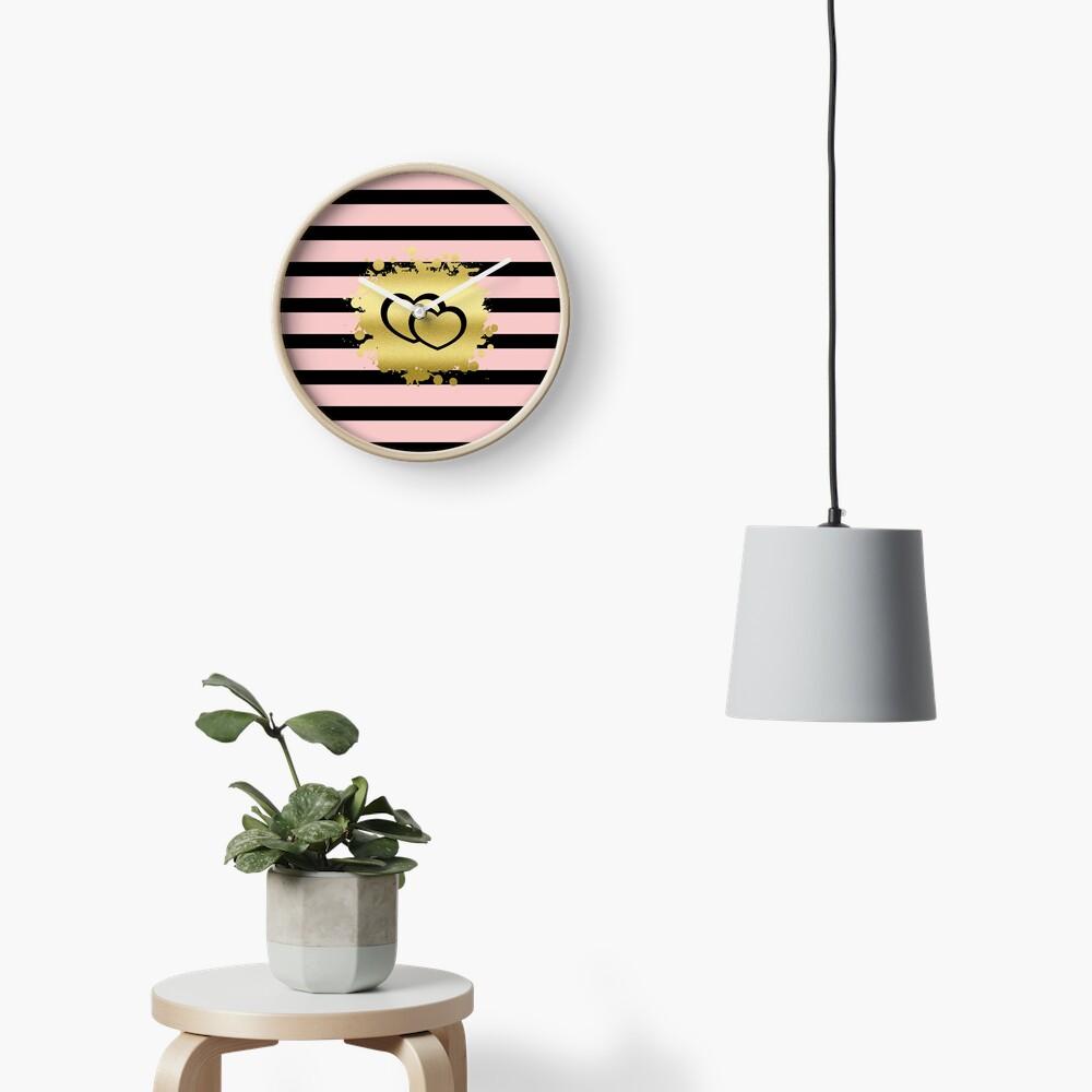 Trendy Blush Pink Black Stripes Gold Glitter Hearts Clock