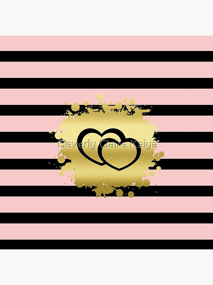 Trendy Blush Pink Black Stripes Gold Glitter Hearts by beverlyclaire