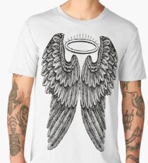 Angel Wings and Halo | Black and White Men's Premium T-Shirt