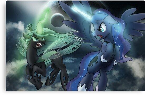 Princess Luna vs Chrysalis by broniesunite
