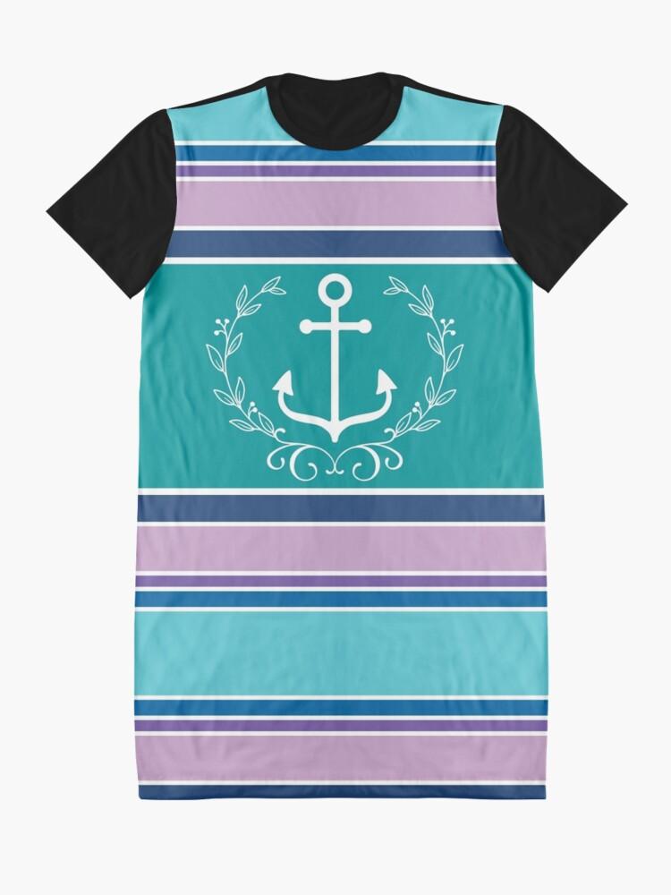 Alternate view of Nautical Wreath Anchor Coastal Teal Purple Blue Summer Graphic T-Shirt Dress