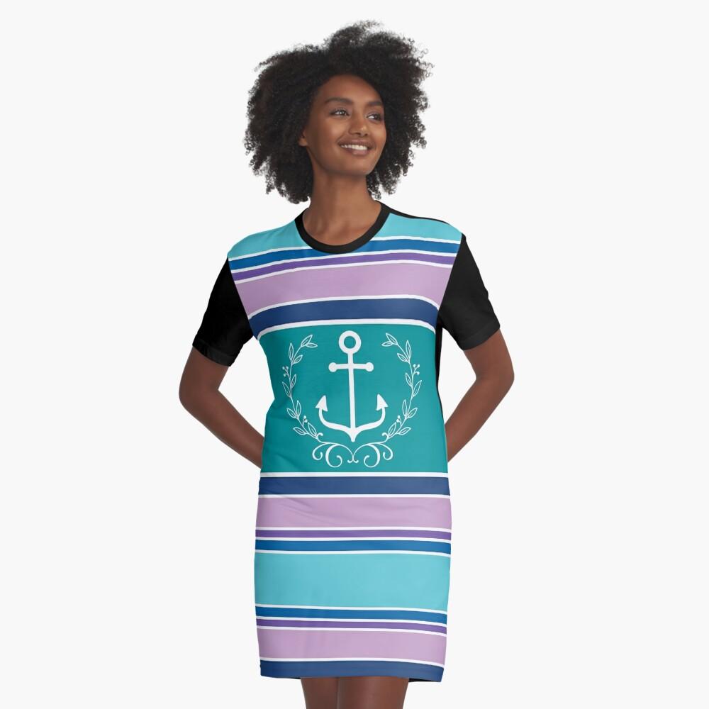 Nautical Wreath Anchor Coastal Teal Purple Blue Summer Graphic T-Shirt Dress