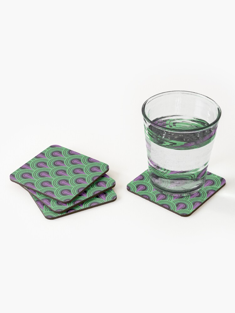 Alternate view of Overlook Hotel Carpet from The Shining: Purple/Green Coasters (Set of 4)