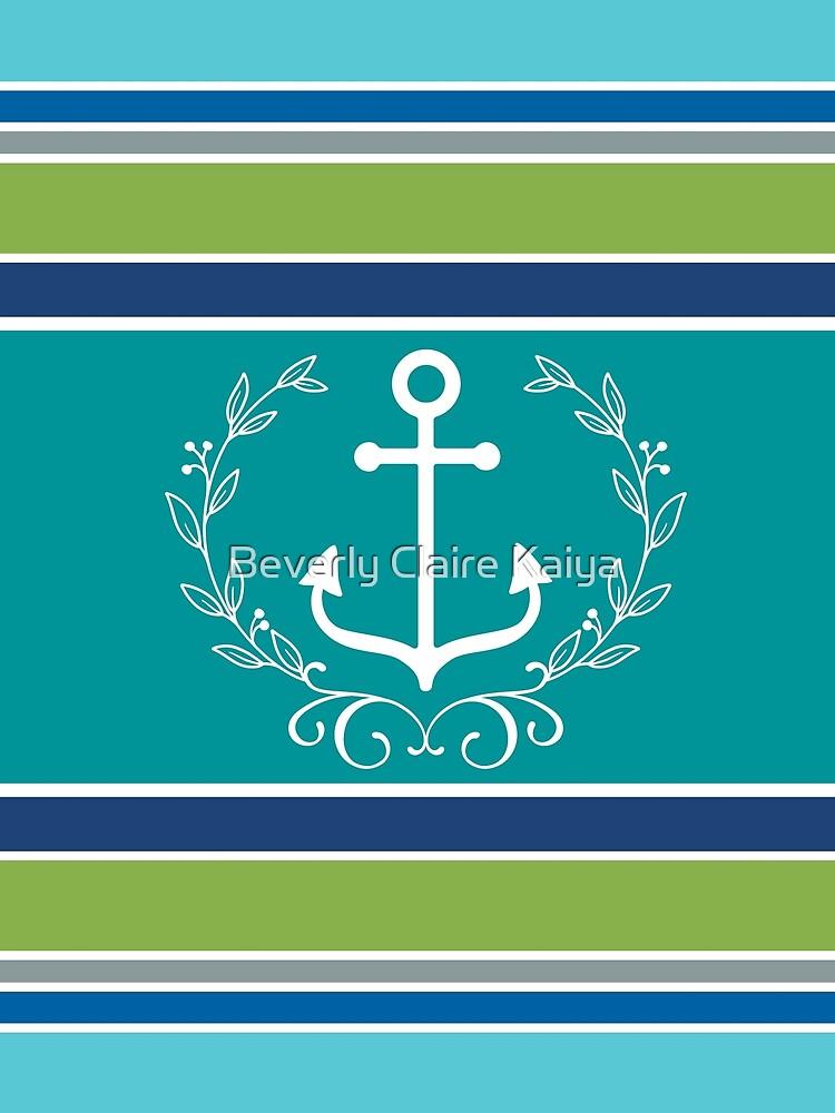 Trendy Monogram Anchor Laurel Wreath Stripes Aqua by beverlyclaire