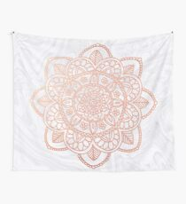Rose Gold Mandala on White Marble Wall Tapestry