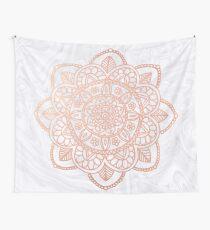 Rose Gold Mandala auf weißem Marmor Wandbehang