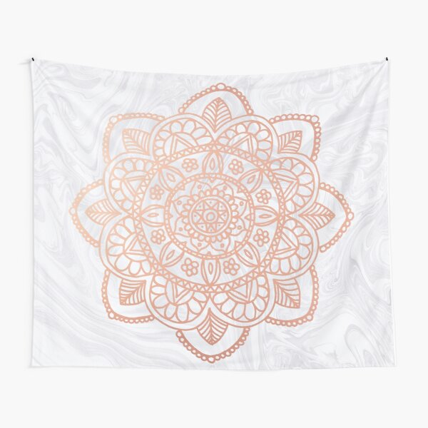 Rose Gold Mandala on White Marble Tapestry