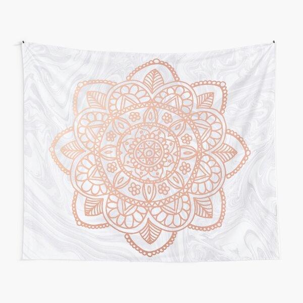 Rose Gold Mandala on White Marble Tapestry