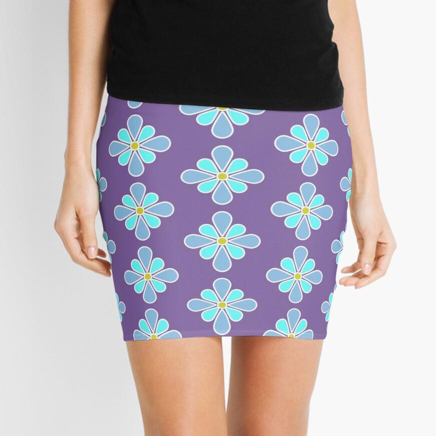 Pastel Blue Flower Mini Skirt