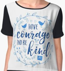 Have Courage and Be Kind Typography Cobalt Blue Women's Chiffon Top