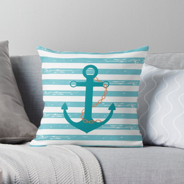 AFE Turquoise Ship Anchor Throw Pillow