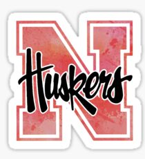 huskers watercolor Sticker