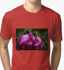 Pink rosebud with water droplets  Tri-blend T-Shirt