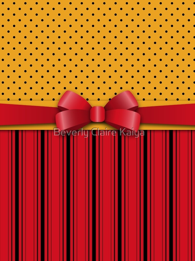 Trendy Red Bow Ribbon Yellow Polka Dots Stripes  by beverlyclaire
